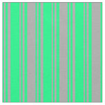 [ Thumbnail: Green and Dark Gray Lines/Stripes Pattern Fabric ]