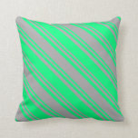 [ Thumbnail: Green and Dark Gray Lines/Stripes Pattern Pillow ]