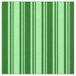 [ Thumbnail: Green and Dark Green Colored Lined Pattern Fabric ]