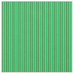 [ Thumbnail: Green and Dark Olive Green Colored Lined Pattern Fabric ]