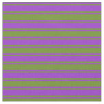 [ Thumbnail: Green and Dark Orchid Colored Lines Fabric ]