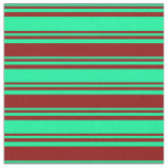 [ Thumbnail: Green and Dark Red Colored Lines/Stripes Pattern Fabric ]