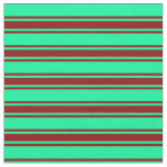[ Thumbnail: Green and Dark Red Lined/Striped Pattern Fabric ]