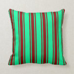 [ Thumbnail: Green and Dark Red Lined/Striped Pattern Pillow ]
