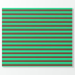 [ Thumbnail: Green and Dark Red Lined/Striped Pattern Wrapping Paper ]