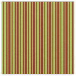 [ Thumbnail: Green and Dark Red Striped/Lined Pattern Fabric ]