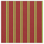 [ Thumbnail: Green and Dark Red Stripes/Lines Pattern Fabric ]