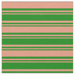 [ Thumbnail: Green and Dark Salmon Lines/Stripes Pattern Fabric ]