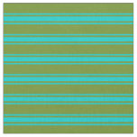 [ Thumbnail: Green and Dark Turquoise Lined/Striped Pattern Fabric ]