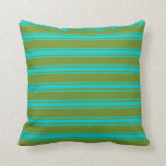 [ Thumbnail: Green and Dark Turquoise Lined/Striped Pattern Throw Pillow ]
