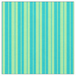 [ Thumbnail: Green and Dark Turquoise Pattern of Stripes Fabric ]