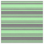 [ Thumbnail: Green and Dim Gray Colored Stripes Pattern Fabric ]
