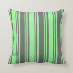 [ Thumbnail: Green and Dim Grey Colored Striped/Lined Pattern Throw Pillow ]