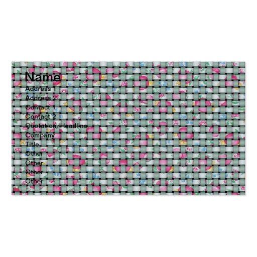 Green and Floral Weave Double-Sided Standard Business Cards (Pack Of 100)