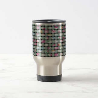 Green and Floral Weave Travel Mug