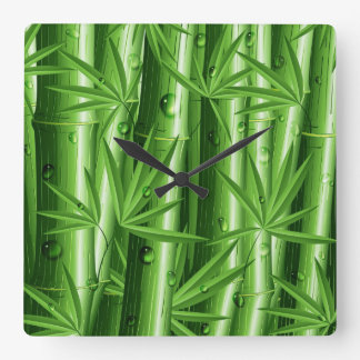 Green and FreshFresh Bamboo with Dew Wall Clock