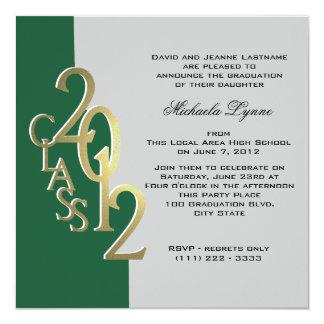 Green and Gold 2012 Photo Graduation Invitation