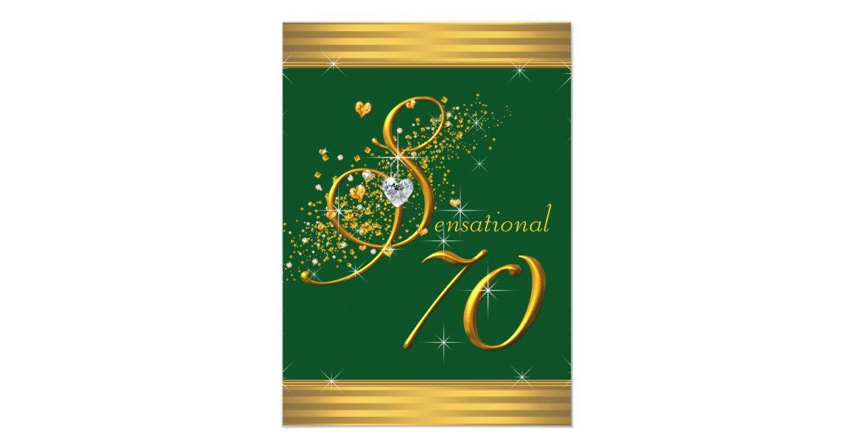 Green And Gold 70th Birthday Party Invitations Zazzle Com