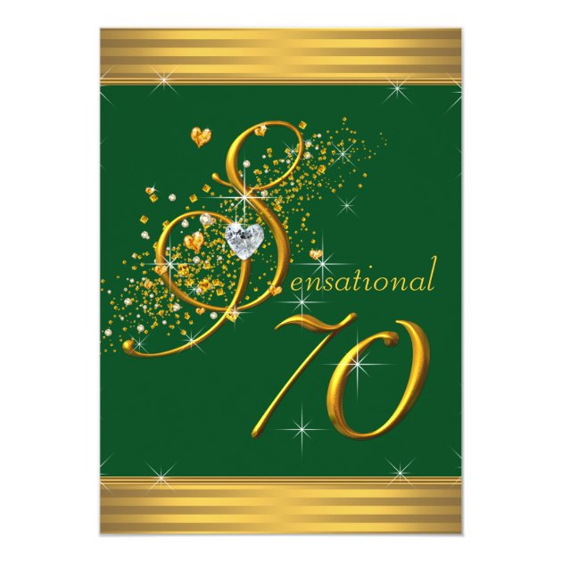 green and gold 70th birthday party invitations