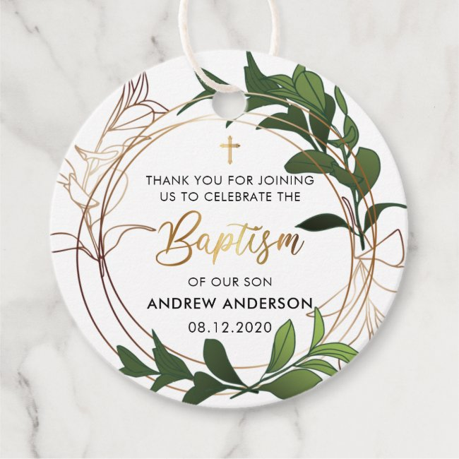 Green And Gold Baptism Thank You Favor Tags