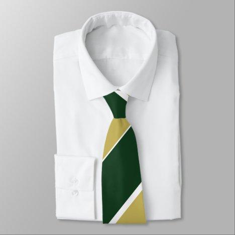 Green and Gold Broad Regimental Stripe Tie