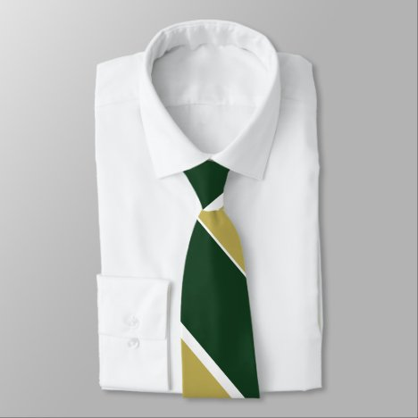 Green and Gold Broad University Stripe Tie