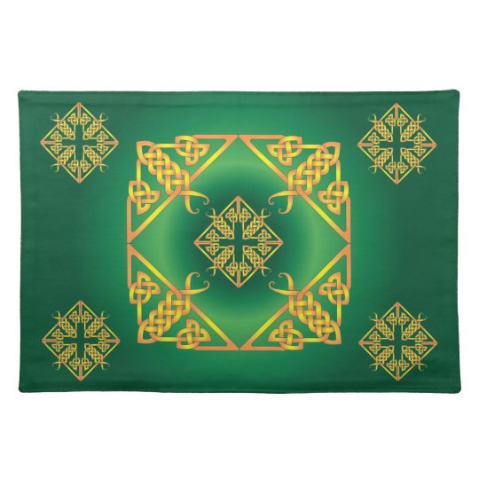 Green and Gold butterflies and crosses placemat