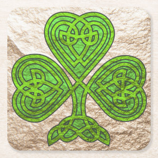 Green and Gold Celtic Shamrock Coaster Square Paper Coaster