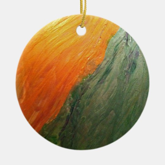 Green and Gold Ceramic Ornament