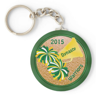 Green and Gold Cheerleader Party Ideas Keychains