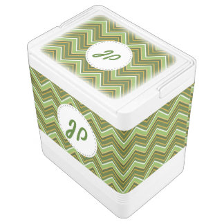Green and Gold Chevron Monogram Igloo Drink Cooler