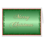 Green and Gold Christmas Greeting Card