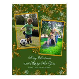 Green and Gold Christmas Photo Cards