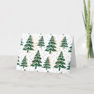 Green And Gold Christmas Trees Card