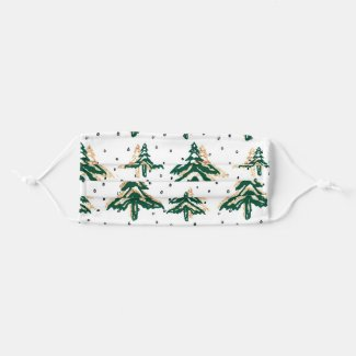 Green And Gold Christmas Trees Cloth Face Mask