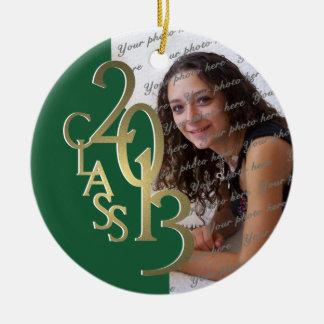 Green and Gold Class 2013 Graduation Photo Ceramic Ornament