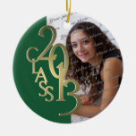 Green and Gold Class 2013 Graduation Photo Christmas Tree Ornament
