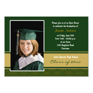 Green and Gold Damask Graduation Party Invitation