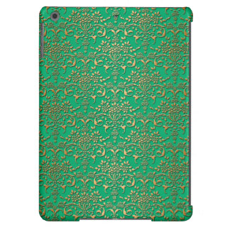 Green and Gold Damask Pattern Cover For iPad Air