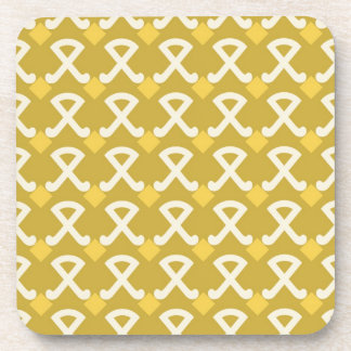Green and Gold Diamonds and Hooks Patterns Coaster