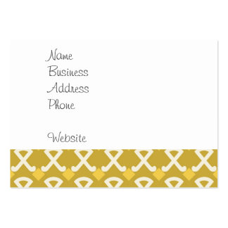 Green and Gold Diamonds and Hooks Patterns Large Business Cards (Pack Of 100)