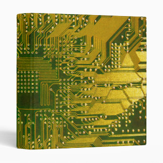 Green and Gold Electronic Computer Circuit Board 3 Ring Binder