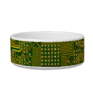 Green and Gold Electronic Computer Circuit Board Bowl