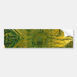 Green and Gold Electronic Computer Circuit Board Bumper Sticker