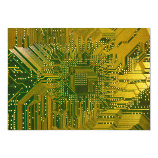 Green and Gold Electronic Computer Circuit Board Invitations