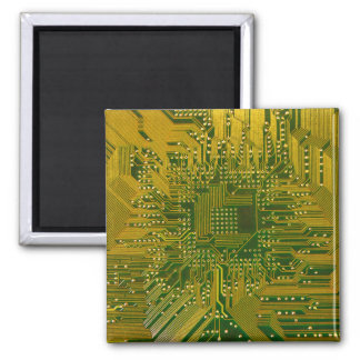 Green and Gold Electronic Computer Circuit Board Refrigerator Magnets