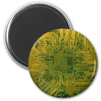 Green and Gold Electronic Computer Circuit Board Magnets