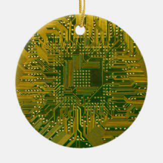 Green and Gold Electronic Computer Circuit Board Double-Sided Ceramic Round Christmas Ornament