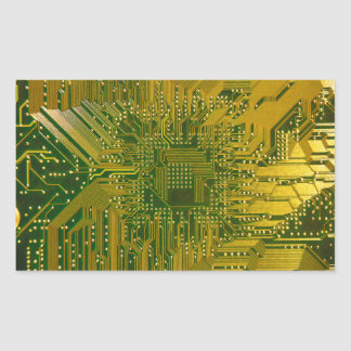 Green and Gold Electronic Computer Circuit Board Rectangular Sticker