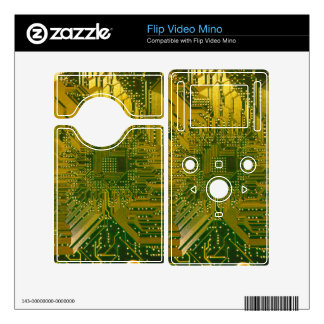 Green and Gold Electronic Computer Circuit Board Decals For The Flip Mino